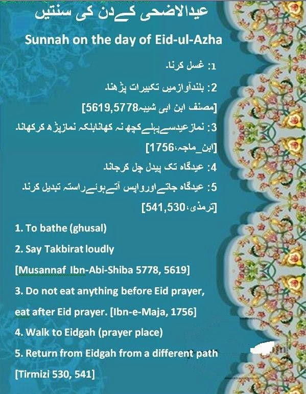 Hadith Related to Eid , Urdu & English Sunnah on the day
